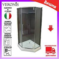 Пятиугольная душевая кабина 90х90 см дверь распашная Veronis KN-16-00 стекло прозрачное, фото 1