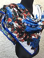 Демисезонный женский платок голубой с цветочным рисунком (цв.14-1), фото 1