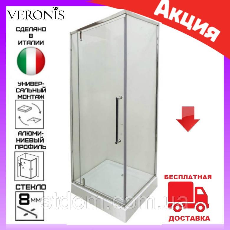 Душевая кабина квадратная 90х90 см дверь распашная Veronis KN-16-09 левая