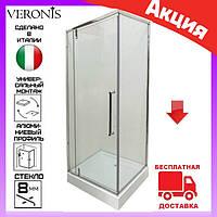 Душевая кабина квадратная 90х90 см дверь распашная Veronis KN-16-09 левая, фото 1
