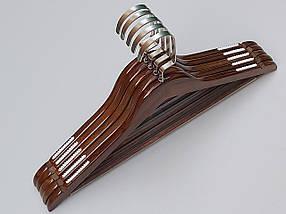 Плечики вешалки тремпеля деревянные коричневого цвета,  длина 44 см, в упаковке 5 штук, фото 3