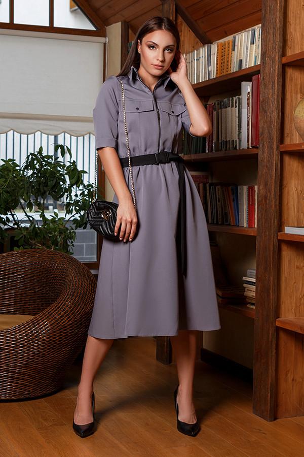 """Модное деловое платье-рубашка со змейкой юбкой """"клеш"""" талия на резинке Серый 44 46 48 50 размеры"""