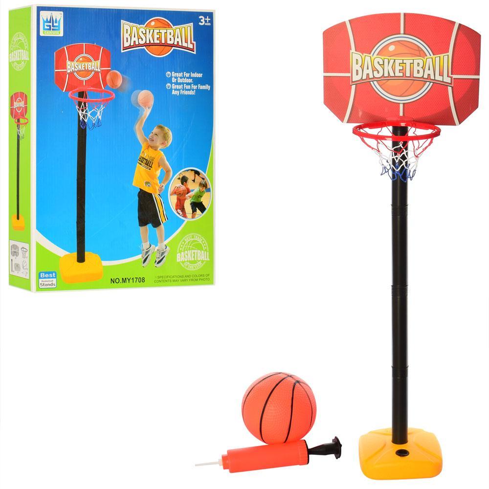 Баскетбольное кольцо MR 0122  на стойке, 115см,мяч, сетка, насос, в кор-ке,29,5-40-7,5см