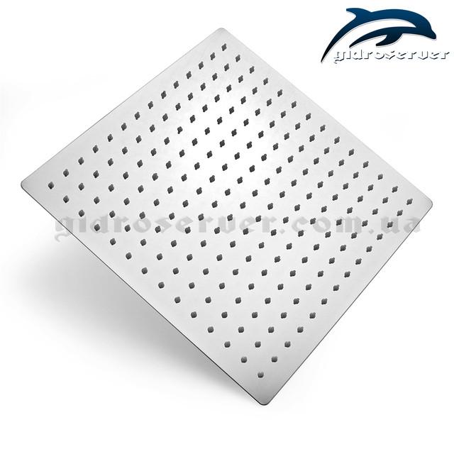 Лейка верхнего душа для душевой системы скрытого монтажа SSD-09 с размером 300 на 300 мм.