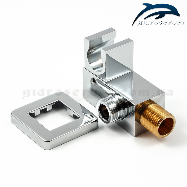 Угловое подключение лейки ручного душа в душевой системе скрытого монтажа SSD-09 со встроенным держателем лейки.