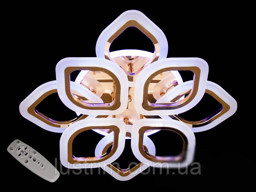 Светодиодная люстра с диммером и LED подсветкой, цвет золото, 110W
