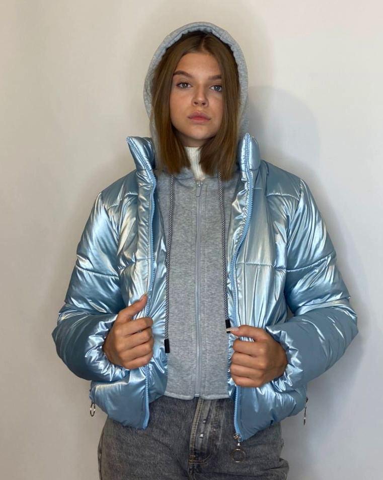 ОПТОМ Куртка жіноча зимова з трикотажної вставкою і капюшоном з плащової тканини жатки хамелеон, різні кольори