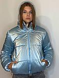 ОПТОМ Куртка жіноча зимова з трикотажної вставкою і капюшоном з плащової тканини жатки хамелеон, різні кольори, фото 3