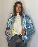 ОПТОМ Куртка жіноча зимова з трикотажної вставкою і капюшоном з плащової тканини жатки хамелеон, різні кольори, фото 4