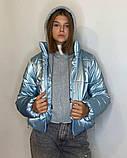 ОПТОМ Куртка жіноча зимова з трикотажної вставкою і капюшоном з плащової тканини жатки хамелеон, різні кольори, фото 5