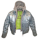 ОПТОМ Куртка жіноча зимова з трикотажної вставкою і капюшоном з плащової тканини жатки хамелеон, різні кольори, фото 6