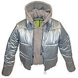 ОПТОМ Куртка жіноча зимова з трикотажної вставкою і капюшоном з плащової тканини жатки хамелеон, різні кольори, фото 7