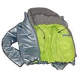 ОПТОМ Куртка жіноча зимова з трикотажної вставкою і капюшоном з плащової тканини жатки хамелеон, різні кольори, фото 8