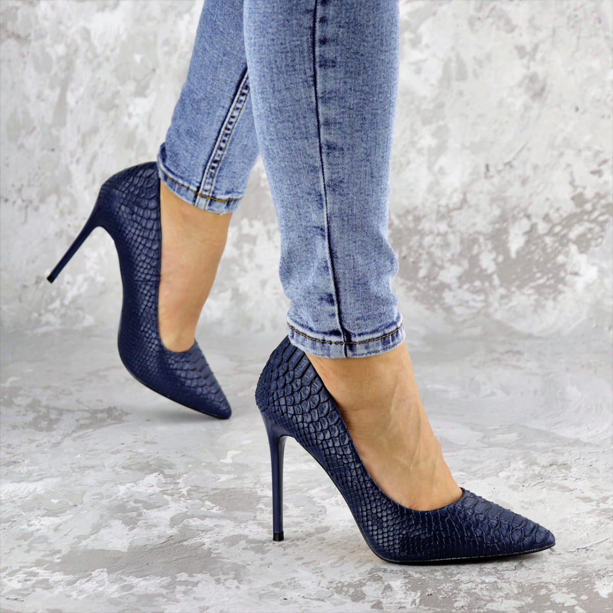 Туфли женские на каблуке Fashion Ollie 2145 36 размер 23,5 см Синий