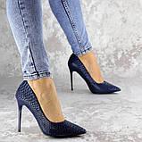 Туфли женские на каблуке Fashion Ollie 2145 36 размер 23,5 см Синий, фото 2