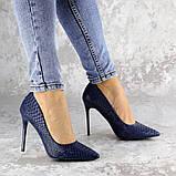 Туфли женские на каблуке Fashion Ollie 2145 36 размер 23,5 см Синий, фото 4