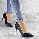 Туфли женские на каблуке Fashion Ollie 2145 36 размер 23,5 см Синий, фото 5