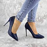 Туфли женские на каблуке Fashion Ollie 2145 36 размер 23,5 см Синий, фото 6