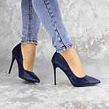 Туфли женские на каблуке Fashion Ollie 2145 36 размер 23,5 см Синий, фото 8