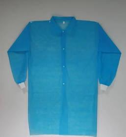 Халат для відвідувачів на кнопках з рукавом з манжетом р-р L уп.5 шт Блакитний (MAS40353)