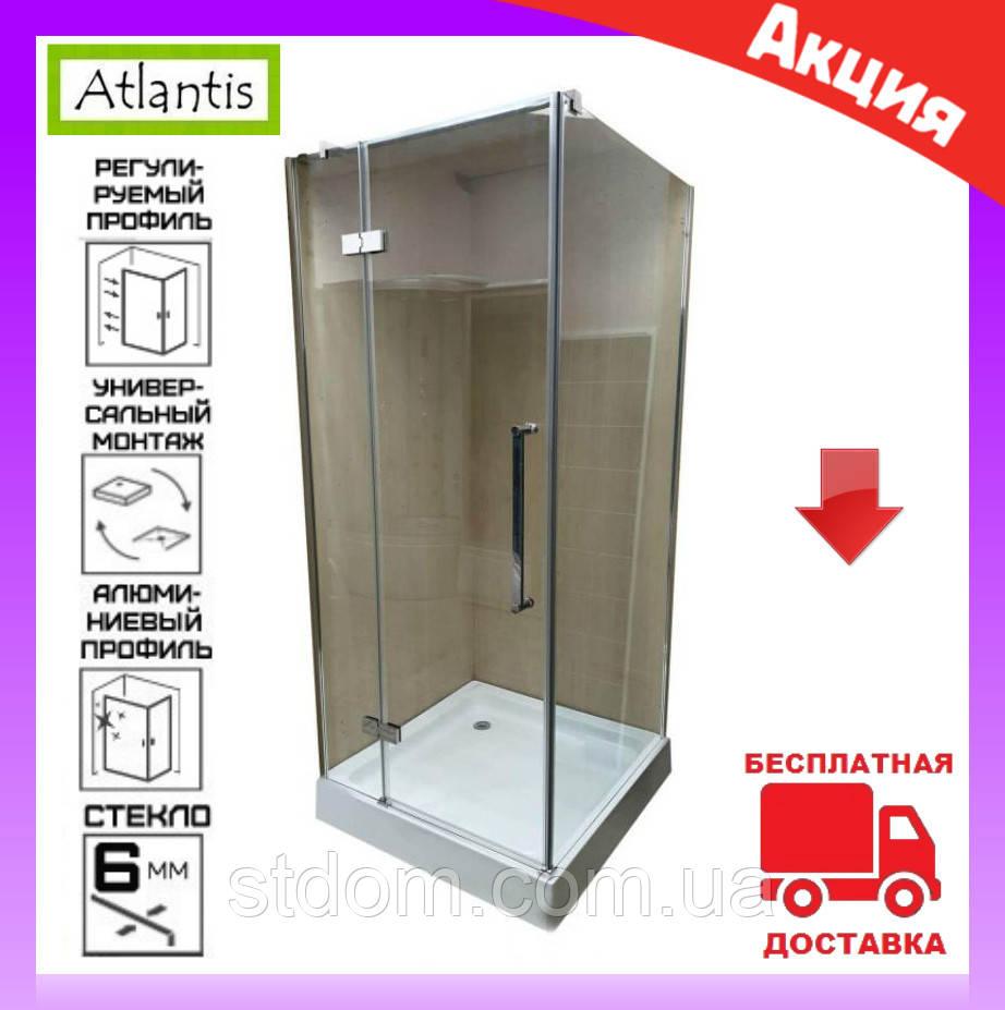 Душова кабіна квадратна 100х100 см без піддону Atlantis JL-139 двері орні ліва