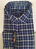 Мужская рубашка теплая кашемировая синего цвета в клетку с длинным рукавом Brossard