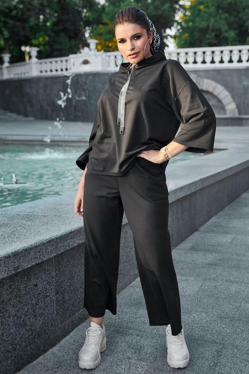 Модний стильний женский костюм большого размера  2021 цвет: черный, размер: XL, L, 2XL, 3XL