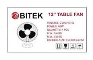 Вентилятор настольный BITEK 30см 40 Вт 3 пластиковых лопасти BT-1210
