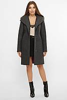 Темно-серое женское зимнее пальто   с поясом и капюшоном MS-225 Z, фото 1