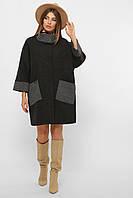 Черное женское демисезонное пальто   с поясом оверсайз Пальто MS-229, фото 1