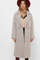 Бежевое демисезонное женское длинное пальто MS-265, фото 1