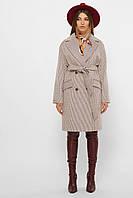 Бежевое женское демисезонное пальто   с поясом  MS-269, фото 1