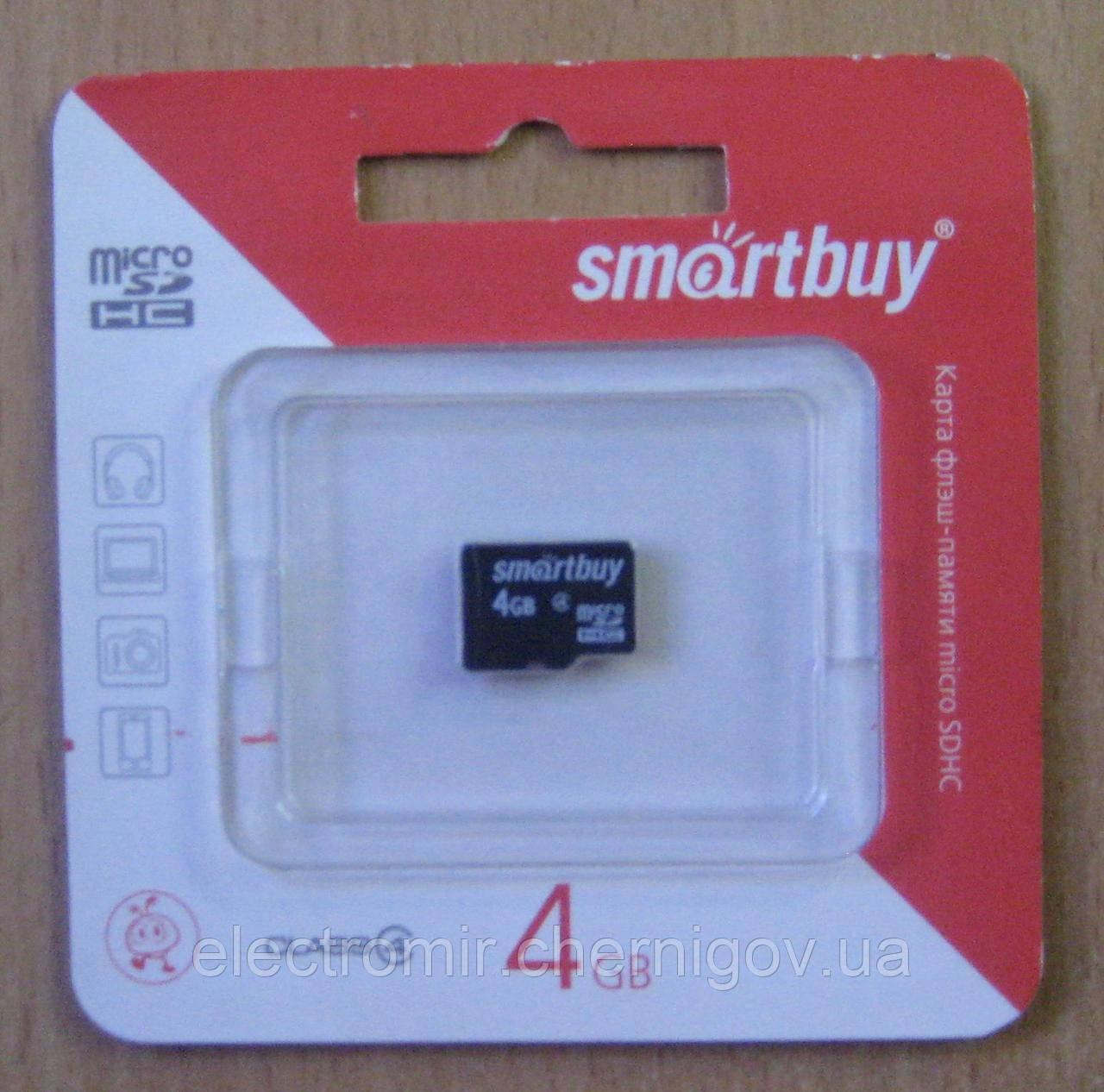 Карта памяти microSD Smartbuy 4GB 4 class