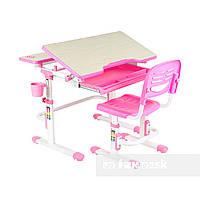 Растущая парта + стульчик для школьника Fundesk Lavoro Pink