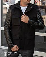 Мужская куртка пальто чёрная из кашемира с кожаными рукавами утепленная, фото 1