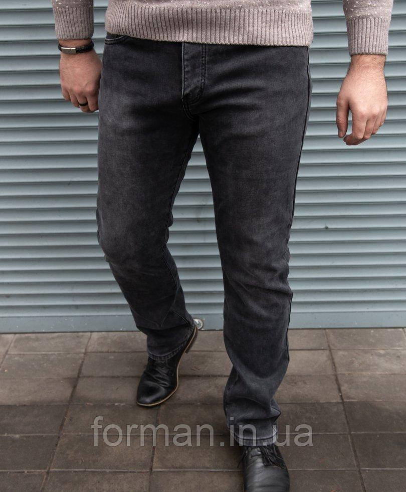 Мужские стильные джинсы серые на флисе , прямой крой