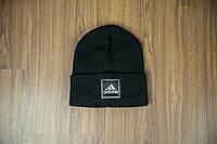 Мужская шапка Adidas черная на флисе