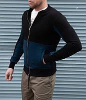 Стильна чоловіча кофта бомбер двоколірна чорна з синім, фото 1