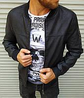 Мужская куртка бомбер чёрная матовая кожа, фото 1