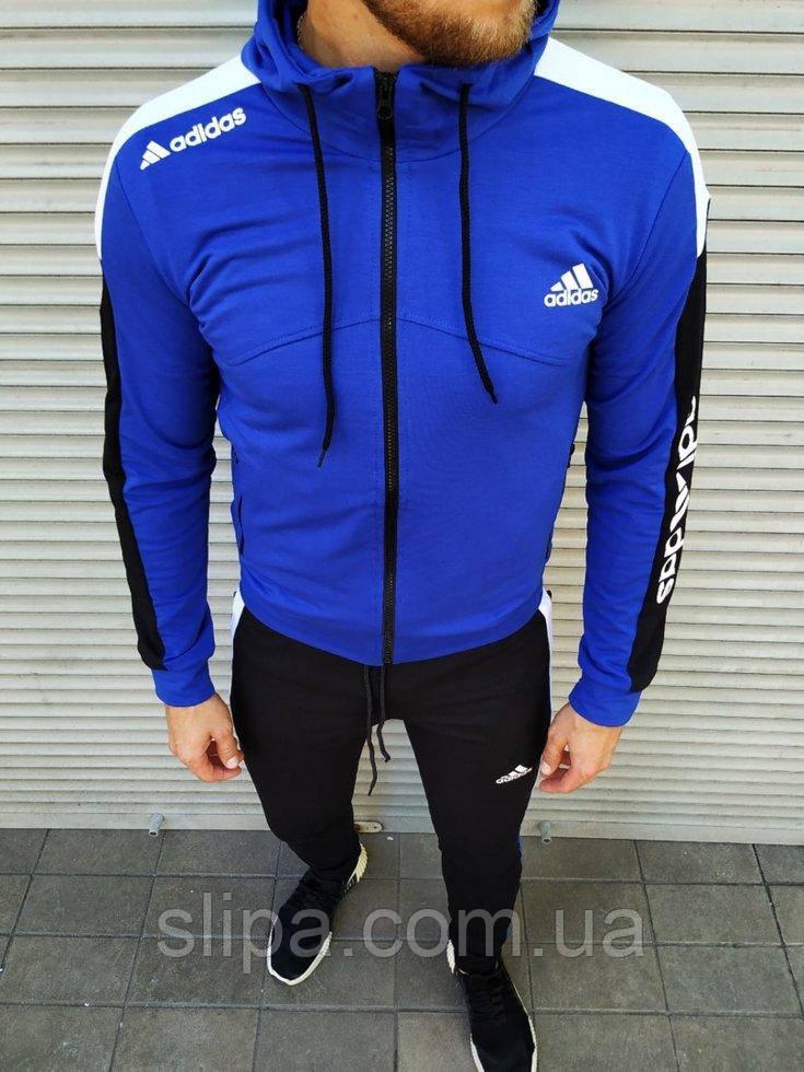 Чоловічий спортивний костюм Adidas синій на манжетах