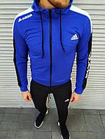 Чоловічий спортивний костюм Adidas синій на манжетах, фото 1