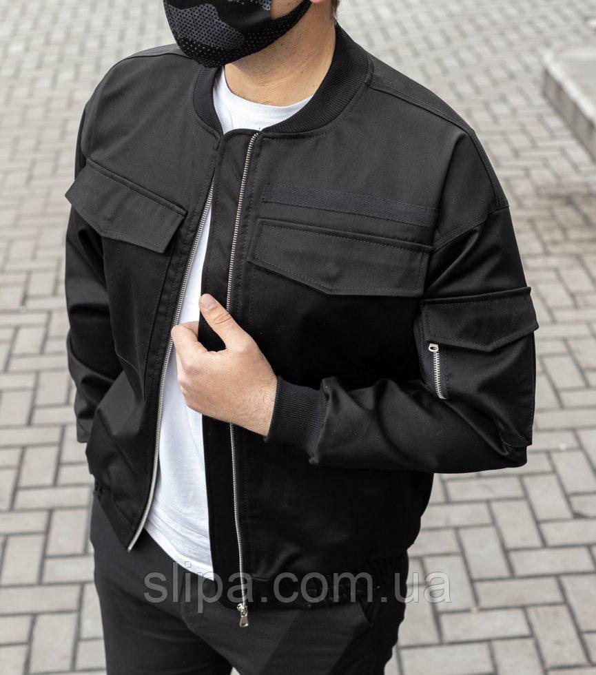 Демісезонна куртка-бомбер чорна з цупкої тканини