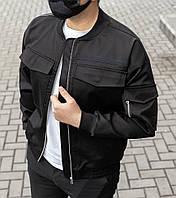 Демісезонна куртка-бомбер чорна з цупкої тканини, фото 1