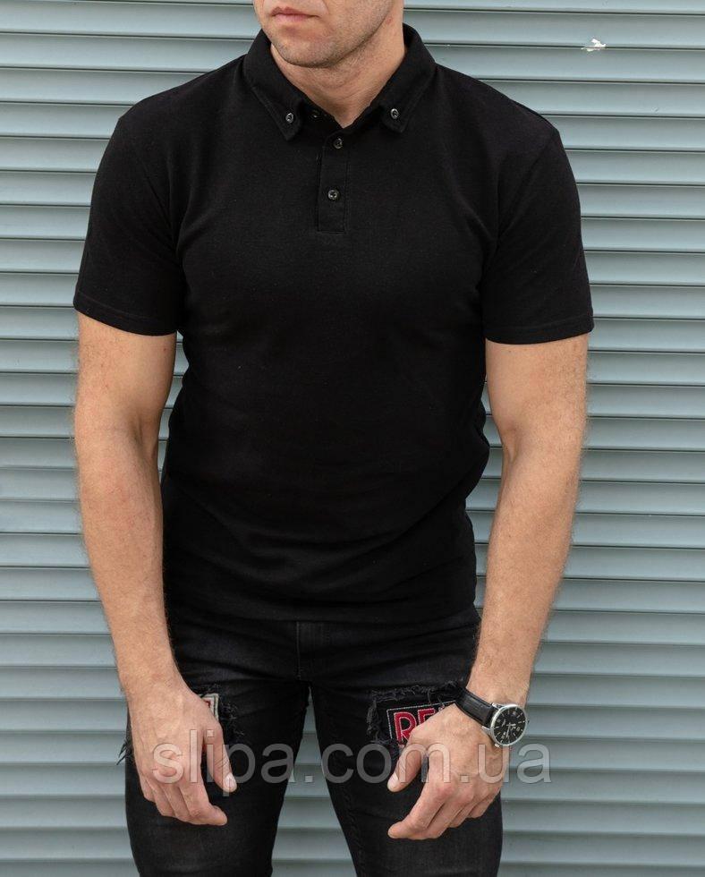 Мужская чёрная футболка поло