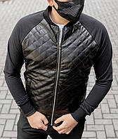 Мужская кофта бомбер Ромбик с трикотажными рукавами, фото 1
