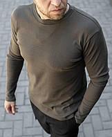 Мужская футболка с длинным рукавом цвета хаки, фото 1