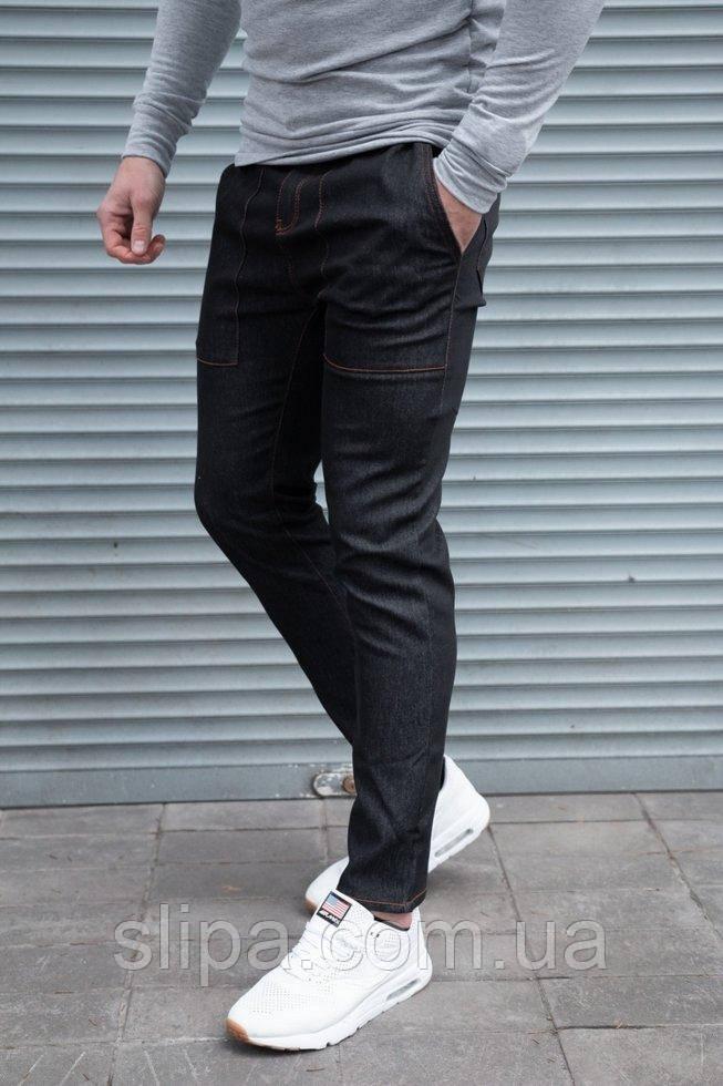 Мужские стрейчевые джинсы чёрные