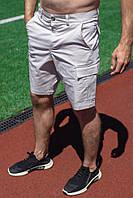 Чоловічі бежеві шорти з накладними кишенями коттон, фото 1