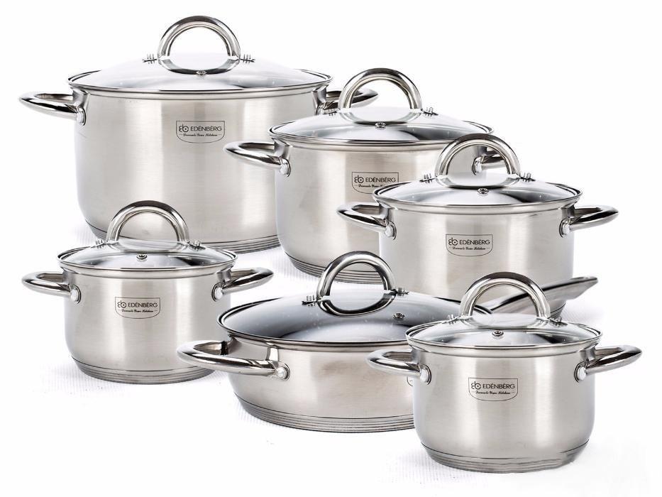 Набор кухонной посуды 12 предметов Edenberg EB-4001 из нержавеющей стали
