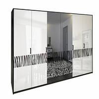 Шафа MiroMark Віола 6Д (дзеркало) 272,6х212,5х55 чорний/білий глянець, фото 1